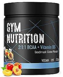 PREMIUM BCAA PULVER + VITAMIN B6 - Low carb 2:1:1 - Hochdosierte - Amino-Säuren Leucin, Isoleucin und Valin - Vegan - Traumhafter Geschmack: ICE TEA PEACH