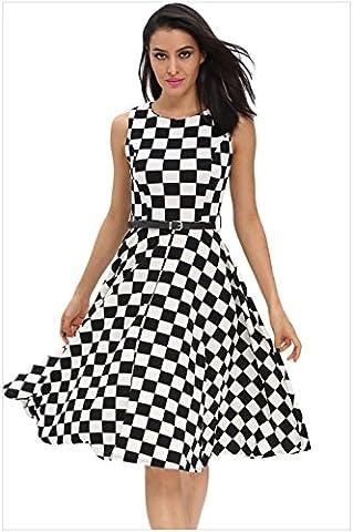 Black polka dots, sleeveless neck, back zip, belt, vintage A, umbrella skirt, fluffy dress, dress,S,Gun