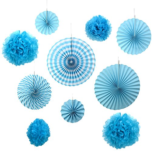Gardeningwill 10Stück Blau Papier Fans Rosetten zum Aufhängen Ornament Geburtstag Party Hochzeit Deko
