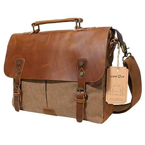 Lifewit Herren Vintage Umhängetasche 14 Zoll Laptoptasche Messenger Bag Aktentasche Schultertasche Arbeitstasche Notebooktasche aus Canvas und Leder Kaffee