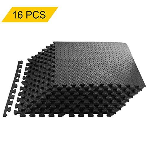 Civigroupey Fußmatten, Puzzlematte für den Fußbodenheizung/Bodenbelag/Bodenbelag/Garage/Fitnessmatte 60 x 60 x 1 cm, 16PCS + Nero