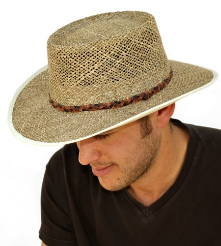 Mens Greg Norman Style Seagrass Straw Summer Hat S19