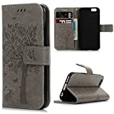 iPhone 6 Case,iPhone 6S Wallet Case, YOKIRIN [Wallet Case] Premium Soft PU Leather Notebook Wallet Embossed Flower Tree Design Case with [Kickstand] Stand Function Card Holder and ID Slot Slim Flip Protective Skin Cover for iPhone 6 ,iPhone 6S (4.7 inch), Gray