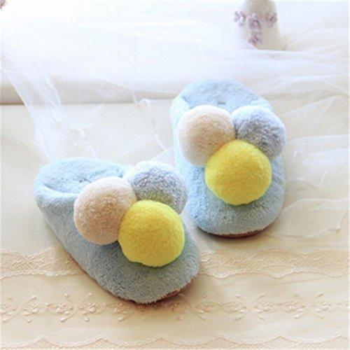 Pantoffeln,Winter Pelz gefüttert Slip On Schuhe Weibliche Mute Home Floor Hausschuhe Plüsch Bequeme Soft Home Schuhe , 38-39 , blue (Schuh Gefüttert Tasche Pelz)
