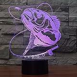 orangeww 3D Kreative Angeln Modellierung Geschenke Tischlampe Wohnkultur Vision Lampara LED USB 7 Farbwechsel Baby Schlafen Fisch Nacht licht