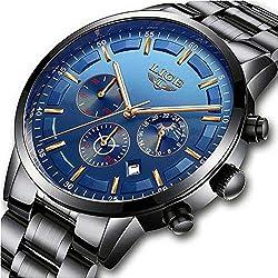 Montres Hommes Sport Imperméable Acier Inoxydable Analogue Quartz Montre Homme Marque LIGE Mode Chronographe Phase de Lune Montre-Bracelet avec Noir Bleu