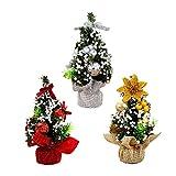RESTBUY künstlich Weihnachtsbaum Mini Weihnachtsbäume klein mit geschmückt 3 Stück Set Weihnachten Deko Tannenbaum klein geeignet für Schlafzimmer Schreibtisch Dekoration Büro Geschäfte