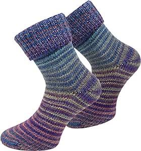 2 Paar Wollsocken Skandinavien-Style wie handgestrickt, mit Umschlag für Damen und Herren Farbe Blau Größe 35/38