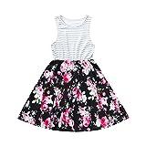 Riou Kleinkind Baby Mädchen Gestreiften Gedruckt Sommerkleid Prinzessin Party Kleider Outfits Sommerkleid Familie Passende Kleidung Cute Mini Kleid (L, Weiß)