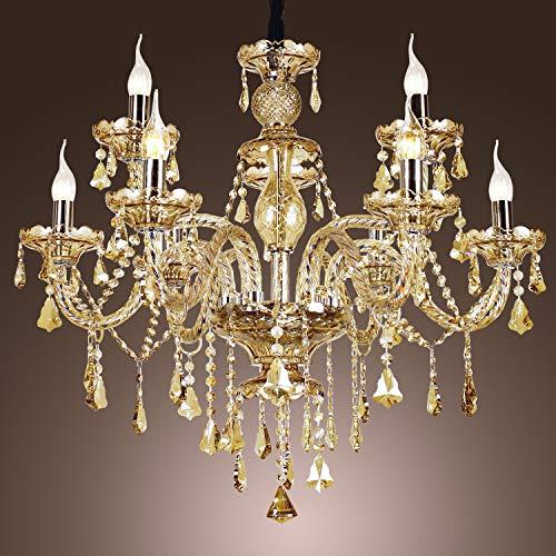 Kronleuchter,9-Lights Moderne minimalistische Luxus Kristallglas Deckenleuchte, LED Hängeleuchten & Pendelleuchten - Neun Light Cognac