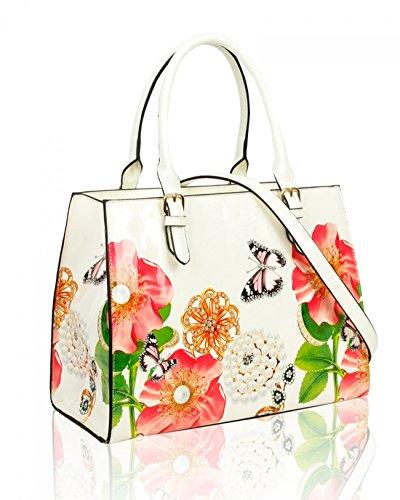 e27b9ce132cbe LeahWard Damen Patent Flower Large Size Handtaschen Einkaufstasche für  Frauen Urlaub 605 (PERLE BUSINESS- ...