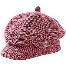 Boomly Femmes Bonnet à Tricoter Visor Cap Cabbie Béret Casquette Hiver  Chaud Beanie Bonnet Turban Casquette 461269fe6d8