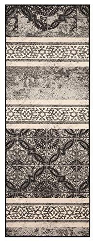 Bavaria-Home-Style-Collection Küchenläufer Läufer Teppich Grau - Anthrazit Vintage Größe 67x180 cm - modern - Motiv - Teppiche - Kitchen Deko - Flur - Esszimmer -