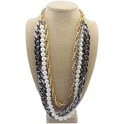 FashionLayered perla filamentos múltiples capas tamaño mezclado rebordea el collar , a-3034