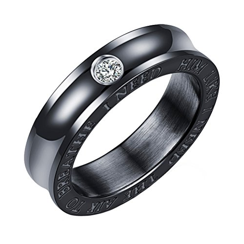 PAURO Herren Edelstahl Lünette Diamant Hochzeit Band Paar Ringe, Valentinstag Geschenke Größe 60 (Männer Diamant-hochzeit Band-größe 13)