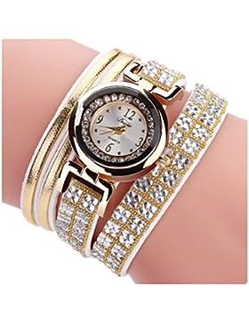 Ouneed® Uhren,glitzer Bling Diamond Lederband Wicklung Analog Quarzwerk Armbanduhr