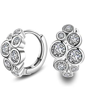 Wiftly Mode Creolen 925 Sterling Silber Zirkonia Ohrschmuck Ohrringe für Frauen Mädchen Geburtstag