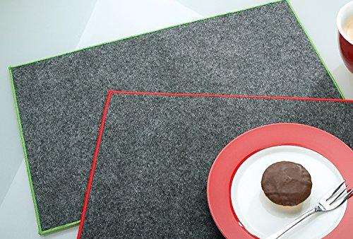Filzuntersetzer Tischset rechteckig 45 x 30 cm mit Saum farbig umsäumt Rand gesäumt Filz Untersetzer dunkelgrau mit grünem Rand 4er Set Gilde