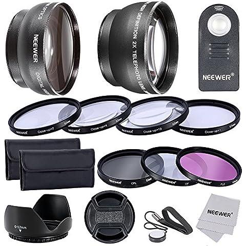 Neewer® Professionale Lenti Filtri Kit con IR Wireless Telecomando Kit per NIKON DSLR Fotocamera, come D5200 D5100 D5000 D3000 D90 D80, Kit include: 52mm 0.45x Grandangolo+2x Teleobiettivo ad Alta Definizione+Filtro Kit(UV, CPL, FLD) + Macro Close-up Kit (+1, +2, +4, +10) +Parasole Tulipano + Copriobiettivo con Cinturino per Copriobiettivo+ Borsetta Portabile per Filtri+Panno ad Alta Qualità in Microfibra+IR Wireless Telecomando Sostituibile per ML-L3, 52MM