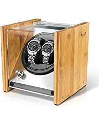 Watch Winder Smith Uhrenbeweger aus Bambusholz und Metall für 2 Uhren, WWS-B1BAM