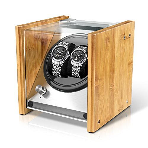 Watch Winder Smith Uhrenbeweger aus Bambusholz und Metall für 2 Uhren, WWS-B1BAM -