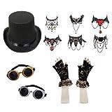Damen Steampunk Maskenkostüm Satz (Zylinder, Schutzbrille, Halskette, Spitzenhandschuhe)