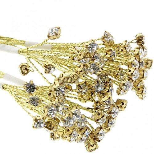 Corsage Creations Zweig mit Strasssteinen, 5 mm, goldfarben, 3 Sträuße x 6 Stiele pro Beutel -