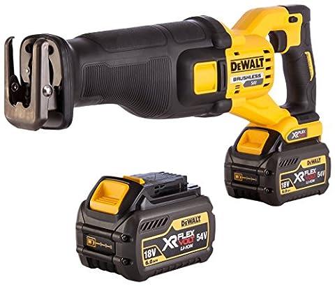 DEWALT DCS388T2 54 V XR Cordless Flexvolt Reciprocating Saw with 2 x 6 A Batteries - Yellow/Black