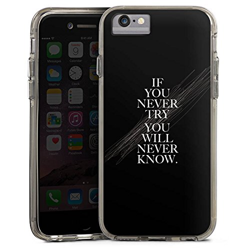Apple iPhone 6s Bumper Hülle Bumper Case Glitzer Hülle Sayings Phrases Sprüche Bumper Case transparent grau