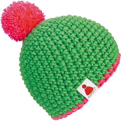 neon-pink Beanie Mütze gehäkelt MIT Bommel in Handarbeit Bommelmütze ()