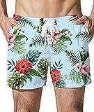 Goodstoworld Badehose für Herren Schnell Trocknend Badeshorts Männer Freizeit Kurze Hose Sommer Strandshorts Tropical Blumen 3D Druck M
