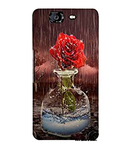 Fabcase Red Rose flower In Rain Designer Back Case Cover for Micromax Canvas Knight A350 :: Micromax A350 Canvas Knight