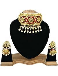 Finekraft Meena Kundan Fabulous Gold Plated Wedding Designer Choker Necklace With Earrings