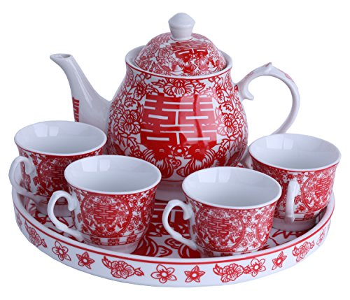 Greencherry Chinese Tranditional Wedding Red Double Happiness Porcelain Tea Set Teapot and Tea Cup 5 Pcs with Base