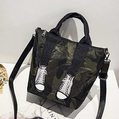 Y-YT Damen Handtasche Bestickte Linie schöne Bein Tasche Hand Schulter Tasche Multi-Use-Studentin Leinwand Umhängetasche 20 * 28 * 15 cm -