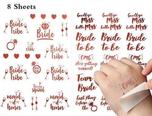 ResPai 8 Piezas Temporales Despedida de Soltera Fiesta Tatuajes Set,Novia Tatuajes Boda Metálico Temporal Pegatinas Dorados Tatuaje Bride Tattoo Hen Party Bridal Shower Despedida de Soltera Accesorios