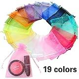 Sunerly 57pezzi 19colori multicolore organza sacchetti regalo festa di nozze favore borse gioielli Wrap, 12x 9cm