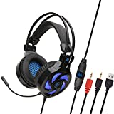 WQGNMJZ Gaming-Headset, SY855MV, LED-Beleuchtungs-Headset, Game E-Sport-Headset für PS4, PC, Earmuffs Kopfhörer, Dolby Surround