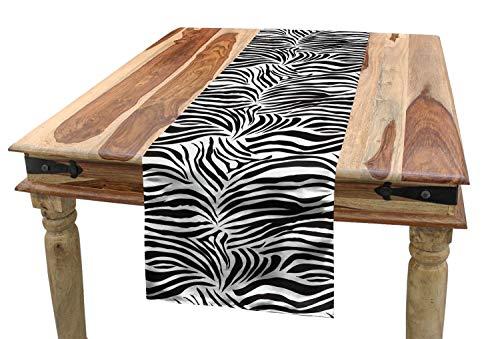 ABAKUHAUS Schwarz-Weiss Tischläufer, Wilde Zebra-Linien, Esszimmer Küche Rechteckiger Dekorativer Tischläufer, 40 x 180 cm, Weiß Schwarz