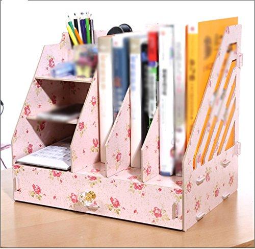 Ahorn Office Bücherregal (FJXLZ® Buchständer Bücherregal File Rack Bürobedarf Creative 32 * 24 * 30 Cm Wooden Cherry Wood Faltbar und einstellbar ( Farbe : #3 ))