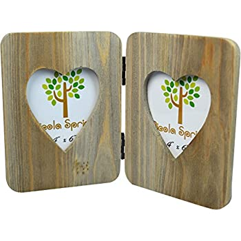 """Nicola Spring Double Wooden Freestanding Photo Picture Frame - 4 x 6"""""""