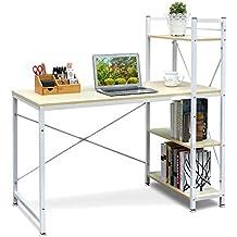 HOMFA Mesa de escritorio Mesa ordenador Movable Escritorio para oficina con 4 estantes 120*65*121cm