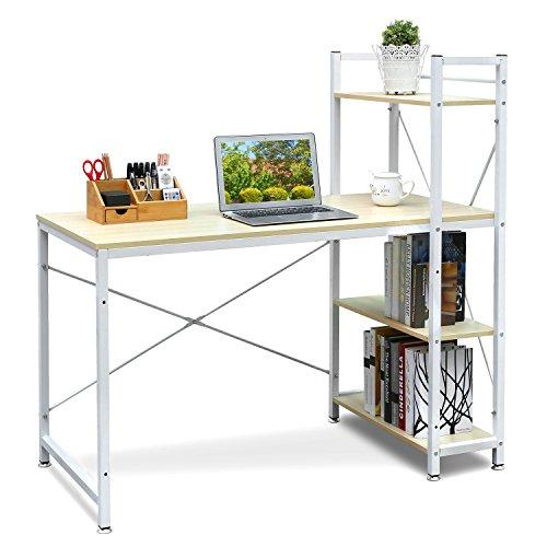 HOMFA Schreibtisch Computertisch Bürotisch Schreibtisch PC Tisch Arbeitstisch Notebook Tisch (Hellbuche)