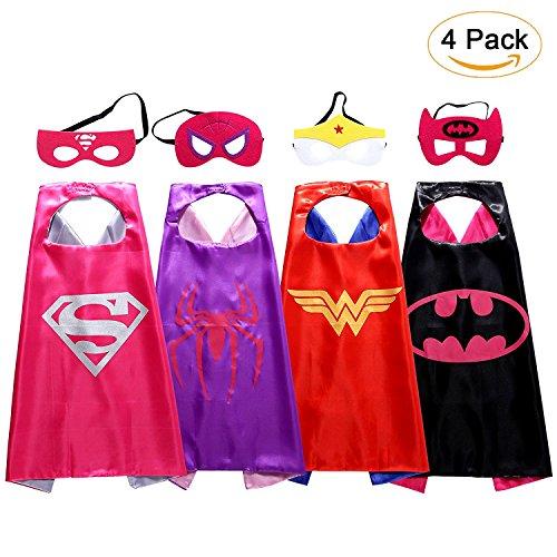 Superhelden Kostüme für Kinder,4 Cape und Maske Halloween Kostüm, Party Kostüme,Spielzeug für Mädchen-Karneval Fasching Costume