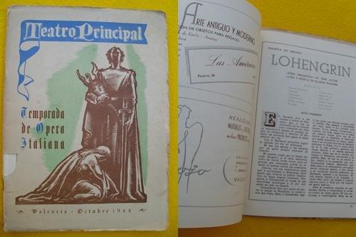 Programa - Program : TEATRO PRINCIPAL - Temporada de Ópera Italiana, octubre 1944 - Valencia