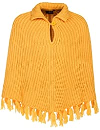 Cayman Girls Mustard-Yellow Acrylic Wool Poncho Shrug