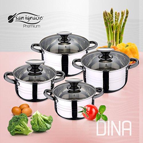 San Ignacio Premium Dina - Bateria de cocina de 4 piezas, acero...