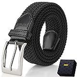 Fairwin Cintura Elastica Intrecciata per Uomo e Donna, Confortevole Cintura in Tessuto Elastico Stretch,per Jeans Pantaloni,Nero, per la Vita 90-100 cm