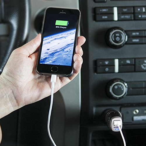 AmazonBasics 4.0 Amp Dual USB Car Charger for Apple and Android Devices - Black