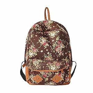 Canvas Floral Backpack Vintage Flower Design Fashion Travelling Bag Schoolbag Canvas Backpack For Teens/For Girls, Flower Print Backpack (Brown)